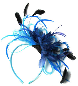 Caprilite Aqua and Navy Blue Net Hoop & Feathers Fascinator On Headband