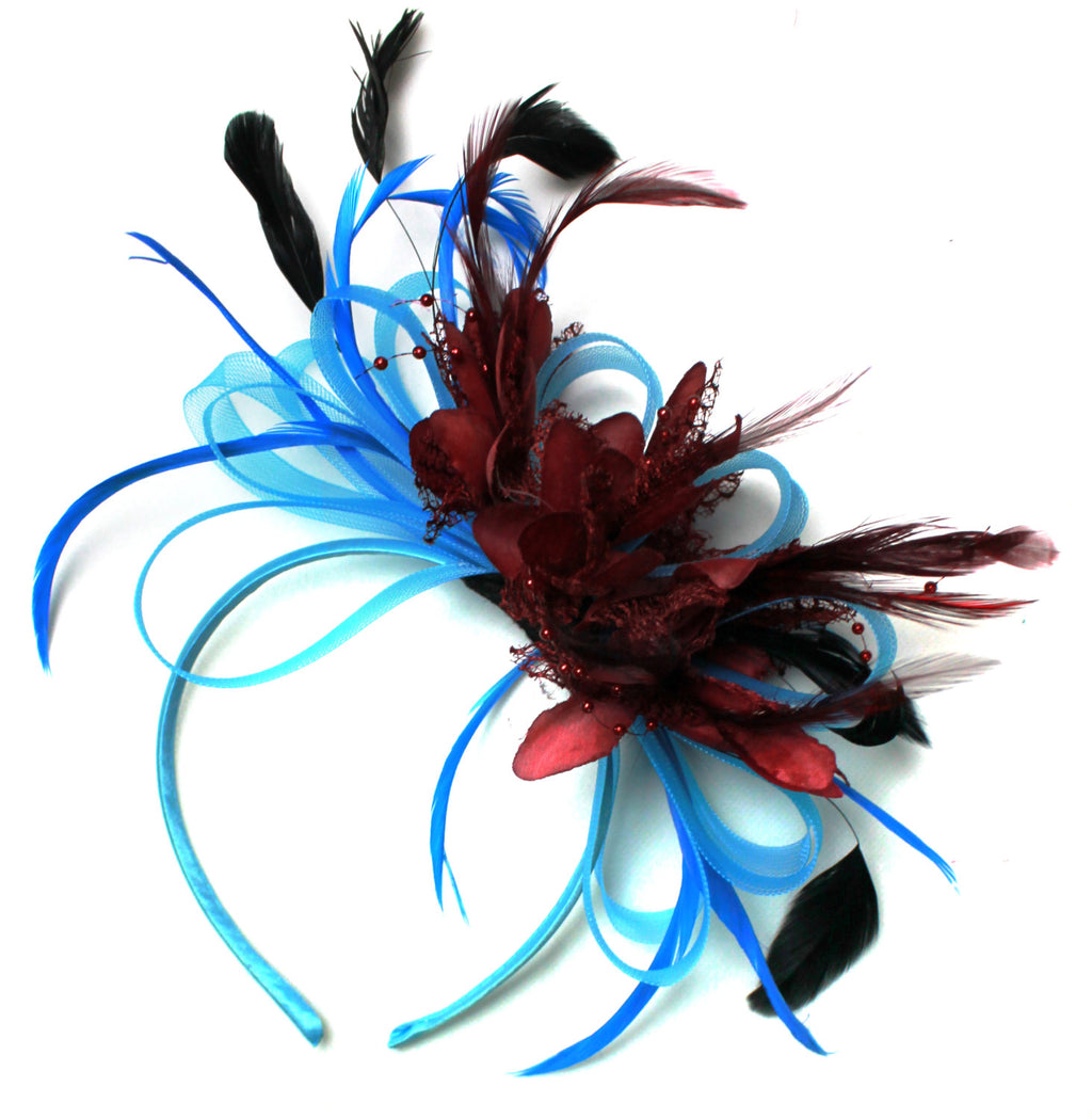 Caprilite Aqua and Burgundy Red Black Net Hoop & Feathers Fascinator On Headband