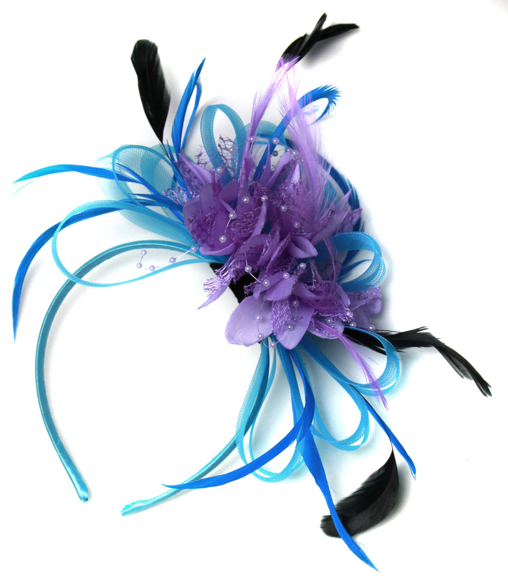 Caprilite Aqua and Lilac Black Net Hoop & Feathers Fascinator On Headband Ascot Wedding Derby