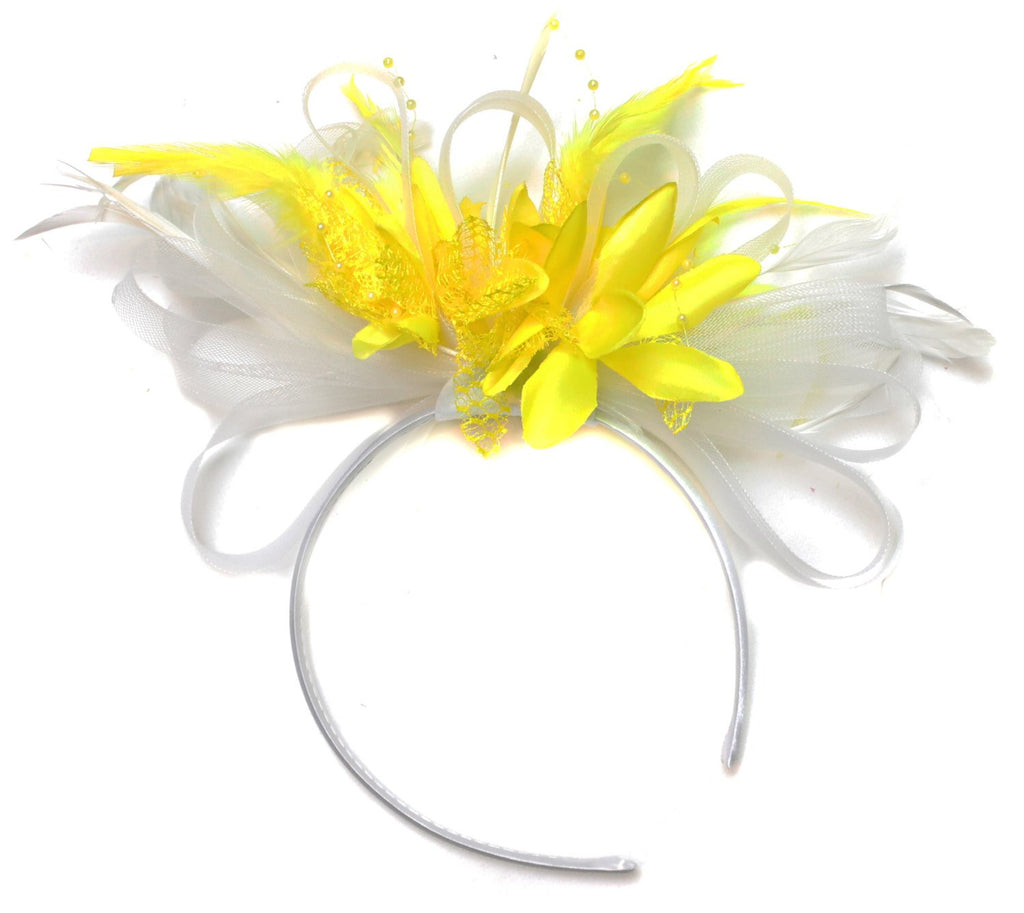 Caprilite White and Yellow Fascinator on Headband Alice Band UK Wedding Ascot Races Derby