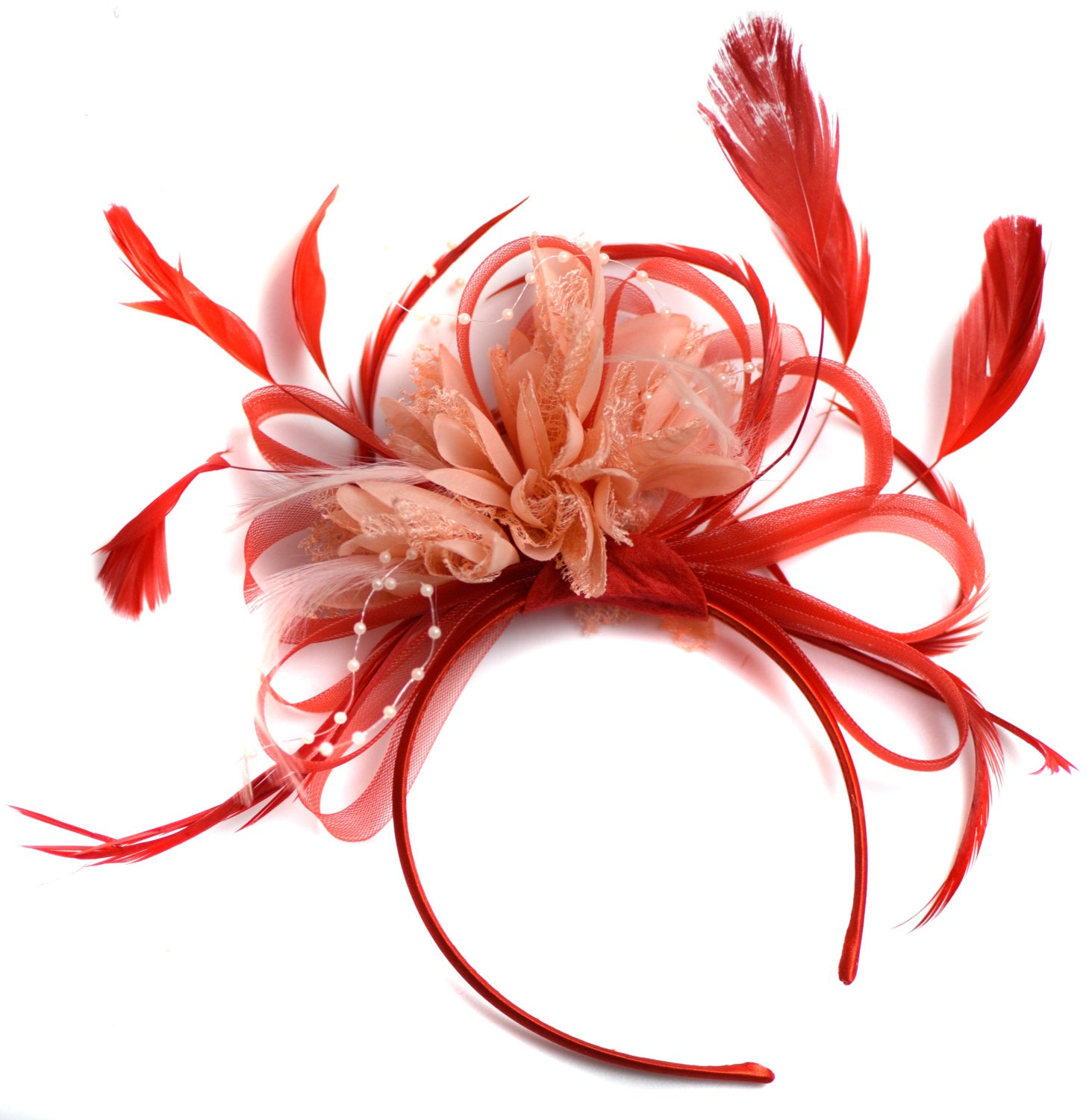 Caprilite Red and Peach Nude Fascinator on Headband Alice Band UK Wedding Ascot Races Derby