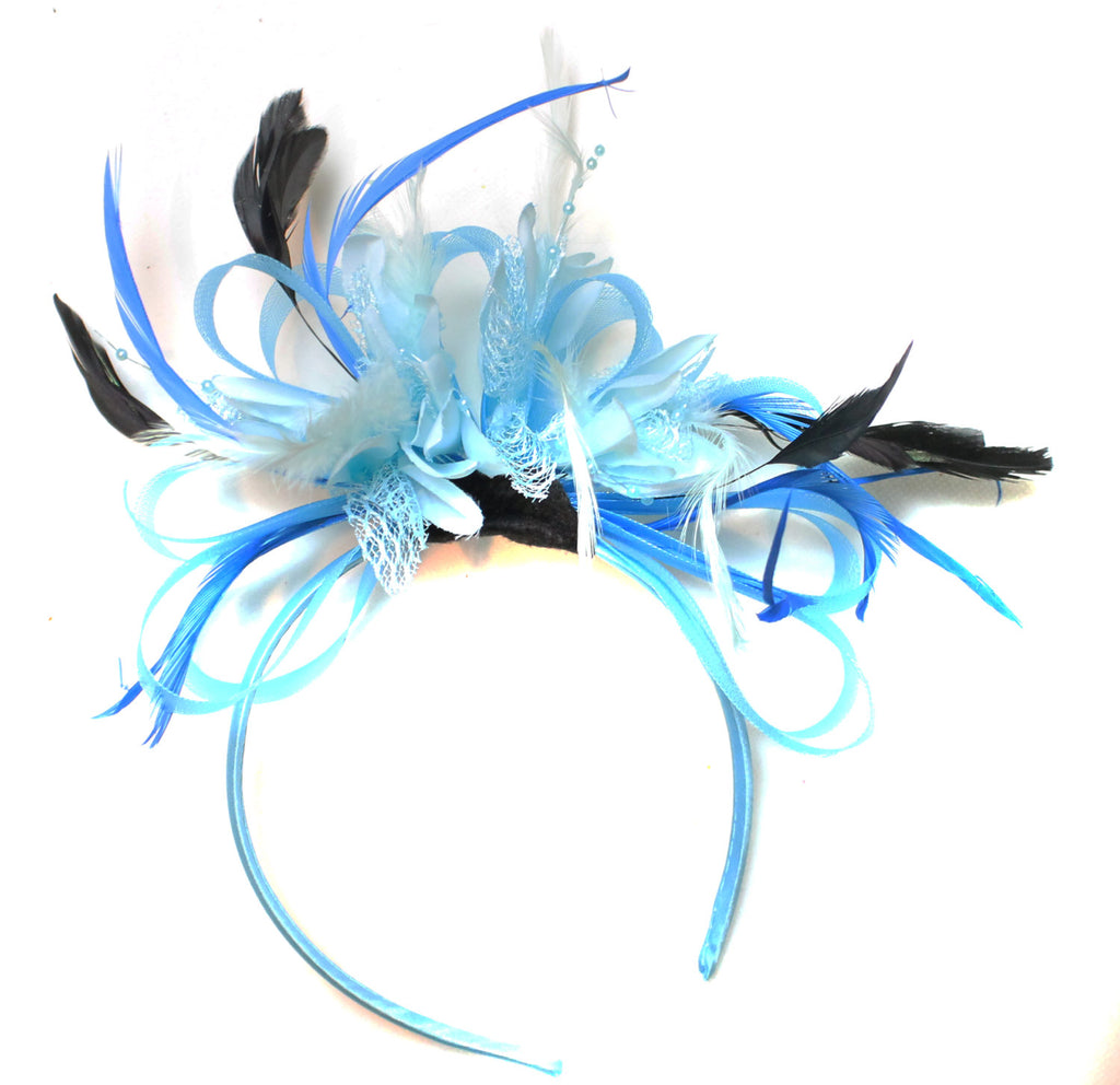 Caprilite Aqua and Baby Blue with Black Feathers Fascinator On Headband Ascot Wedding Derby