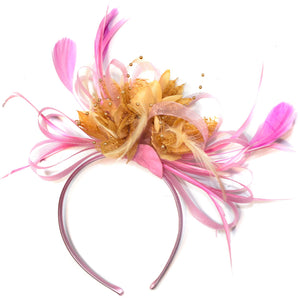Caprilite Baby Pink and Camel Beige Fascinator on Headband Alice Band UK Wedding Ascot Races Derby