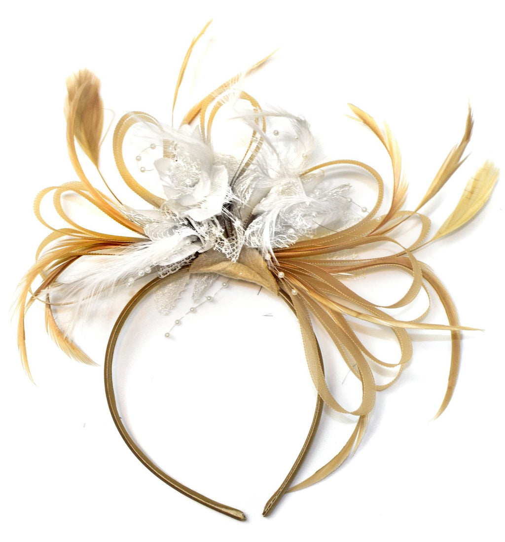 Caprilite Champagne Gold Beige Camel and White Fascinator on Headband Alice Band UK Wedding Ascot Races Derby