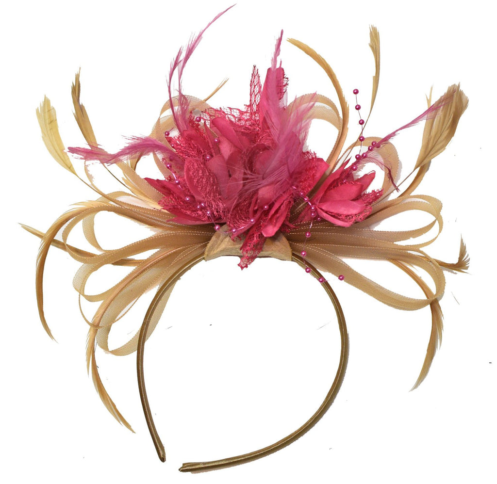 Caprilite Champagne Gold Beige Camel and Fuchsia Pink Fascinator on Headband Alice Band UK Wedding Ascot Races Derby