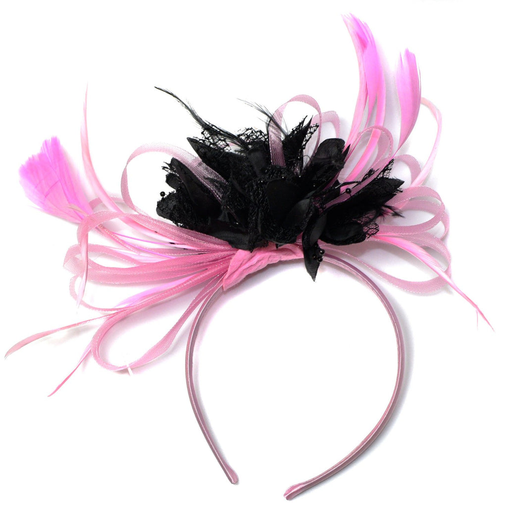 Caprilite Baby Pink and Black Fascinator on Headband Alice Band UK Wedding Ascot Races Derby