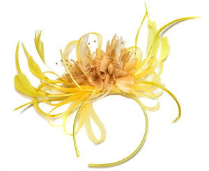 Caprilite Bright Yellow & Camel Beige Feathers Fascinator on Headband Alice Band UK Wedding Ascot Races Derby