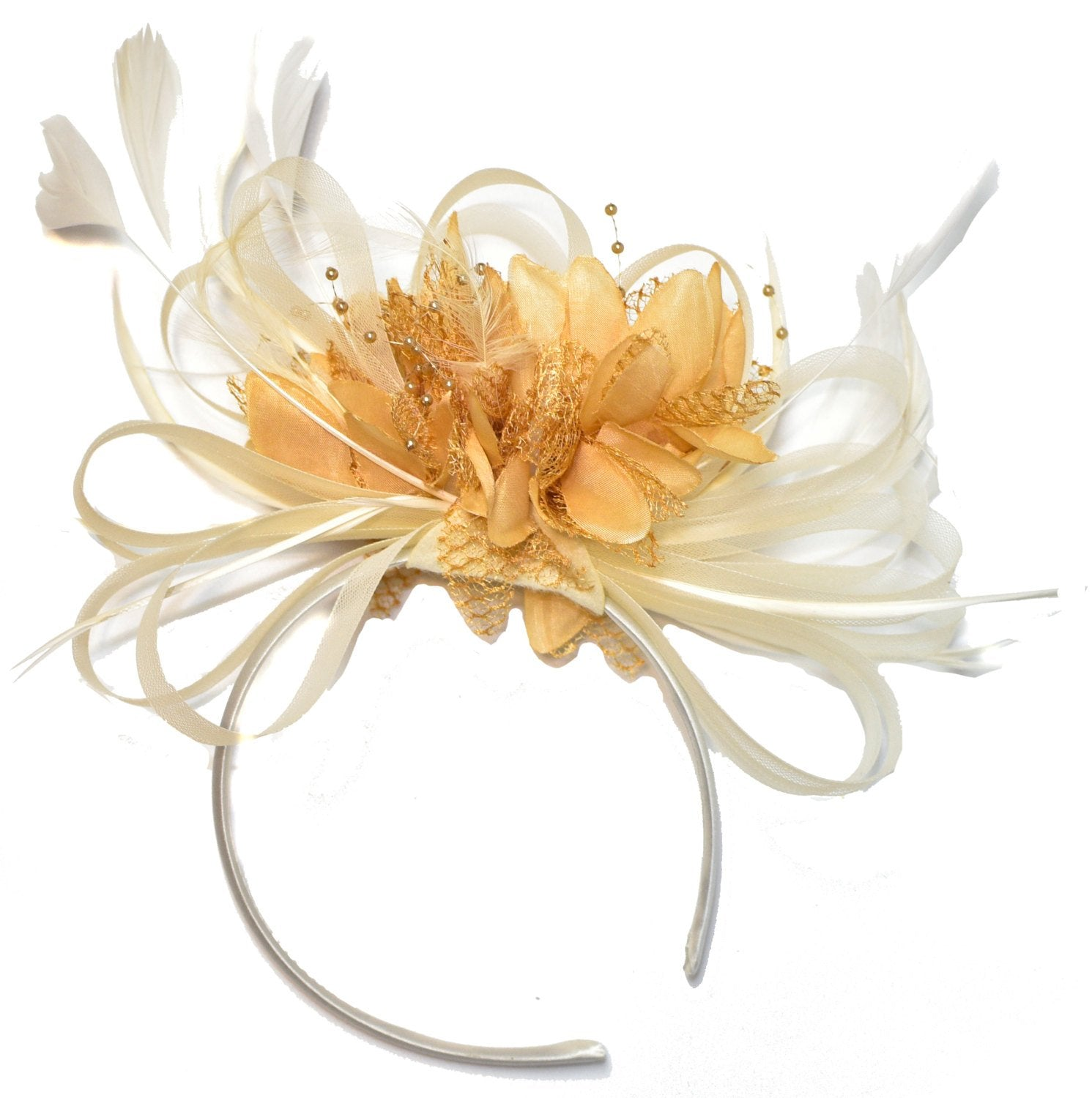 Caprilite Cream and Camel Beige Fascinator on Headband Alice Band UK Wedding Ascot Races Derby