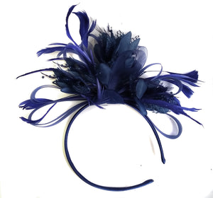 Caprilite Navy Blue Fascinator on Headband AliceBand UK Wedding Ascot Races Loop