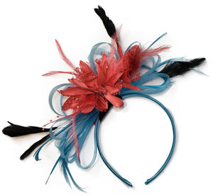 Caprilite Aqua Sky Blue and Coral Pink Fascinator on Headband Alice Band UK Wedding Ascot Races Derby