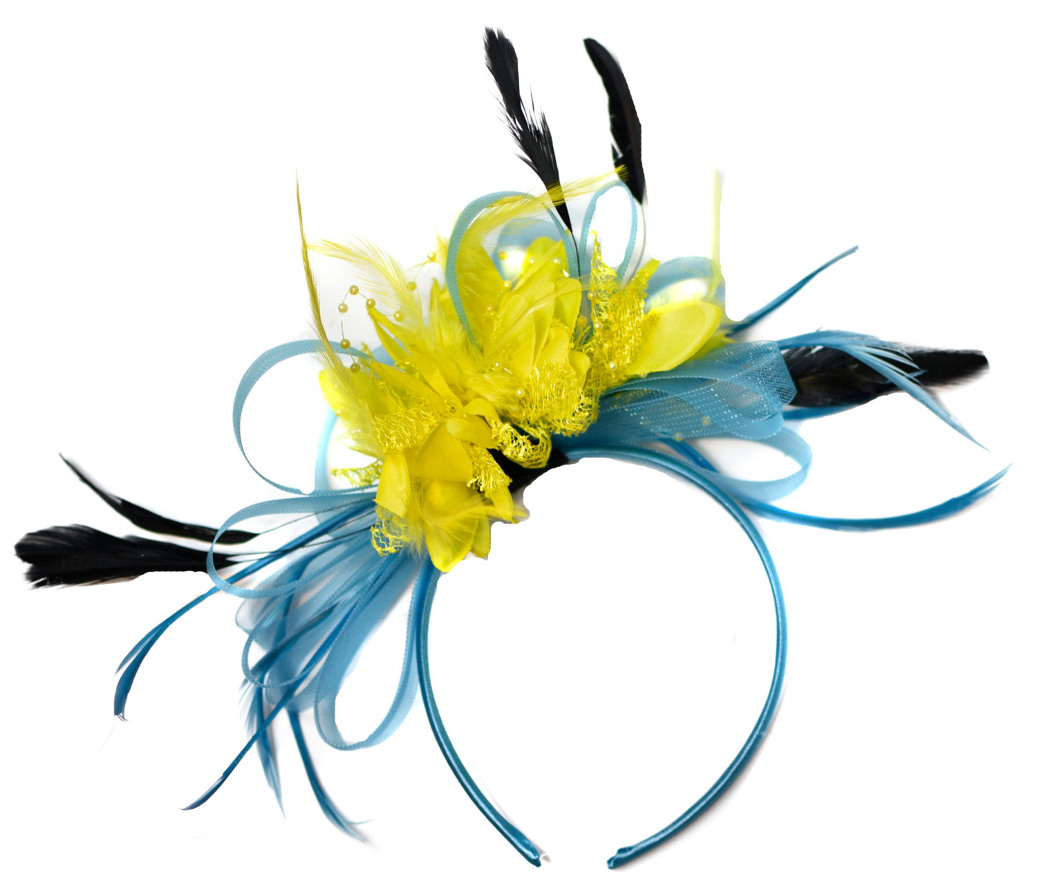 Caprilite Aqua Sky Blue and Yellow Fascinator on Headband Alice Band UK Wedding Ascot Races Derby