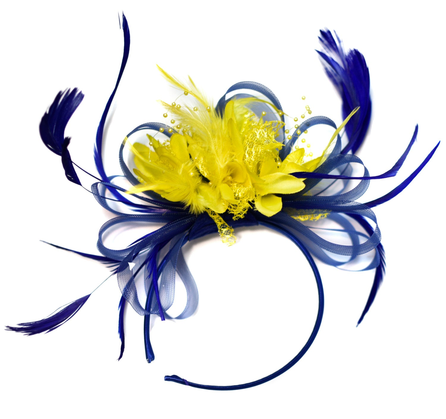 Caprilite Royal Blue and Yellow Fascinator on Headband Alice Band UK Wedding Ascot Races Derby