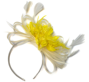 Caprilite Cream and Yellow Fascinator on Headband Alice Band UK Wedding Ascot Races Derby
