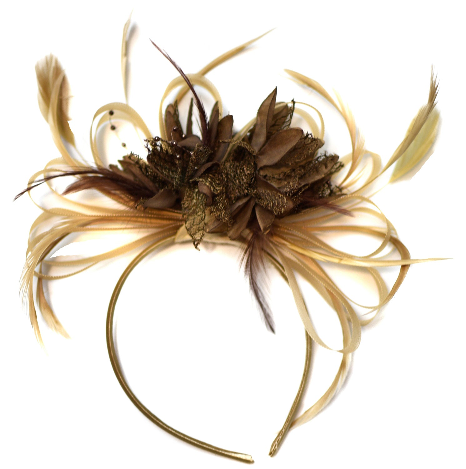 Caprilite Champagne Gold Beige Camel and Coffee Brown Fascinator on Headband Alice Band UK Wedding Ascot Races Derby