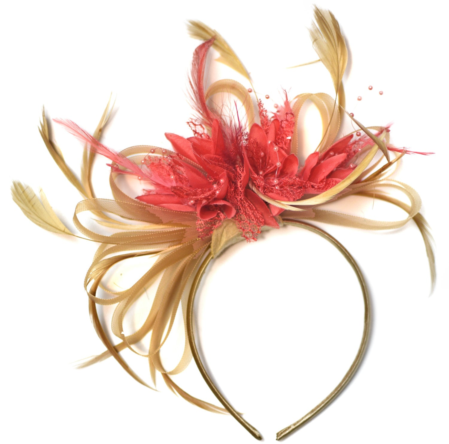 Caprilite Champagne Gold Beige Camel and Coral Pink Fascinator on Headband Alice Band UK Wedding Ascot Races Derby