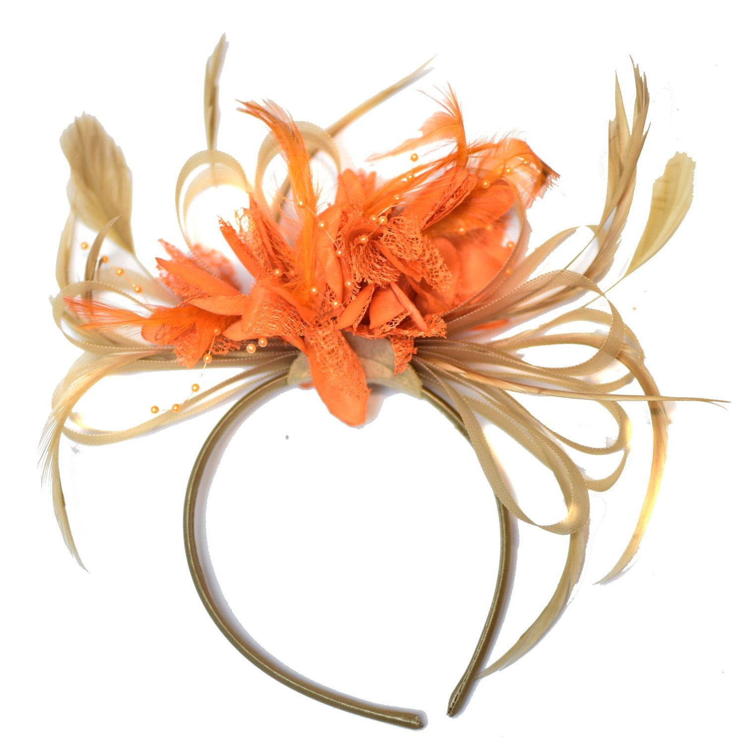 Caprilite Champagne Gold Beige Camel and Orange Fascinator on Headband Alice Band UK Wedding Ascot Races Derby