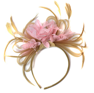 Caprilite Champagne Gold Beige Camel and Baby Pink Fascinator on Headband Alice Band UK Wedding Ascot Races Derby