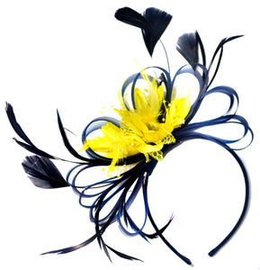 Caprilite Navy Blue and Yellow Fascinator on Headband Alice Band UK Wedding Ascot Races Derby