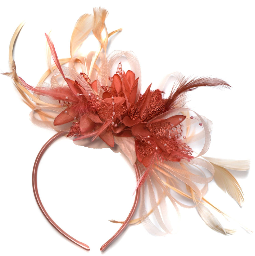 Caprilite Nude Salmon Pink and Coral Pink Fascinator on Headband Alice Band UK Wedding Ascot Races Derby