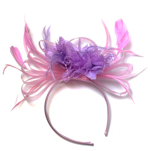 Caprilite Baby Pink and Lilac Purple Fascinator on Headband Alice Band UK Wedding Ascot Races Derby