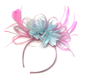 Caprilite Baby Pink and Pale Baby Blue Fascinator on Headband Alice Band UK Wedding Ascot Races Derby