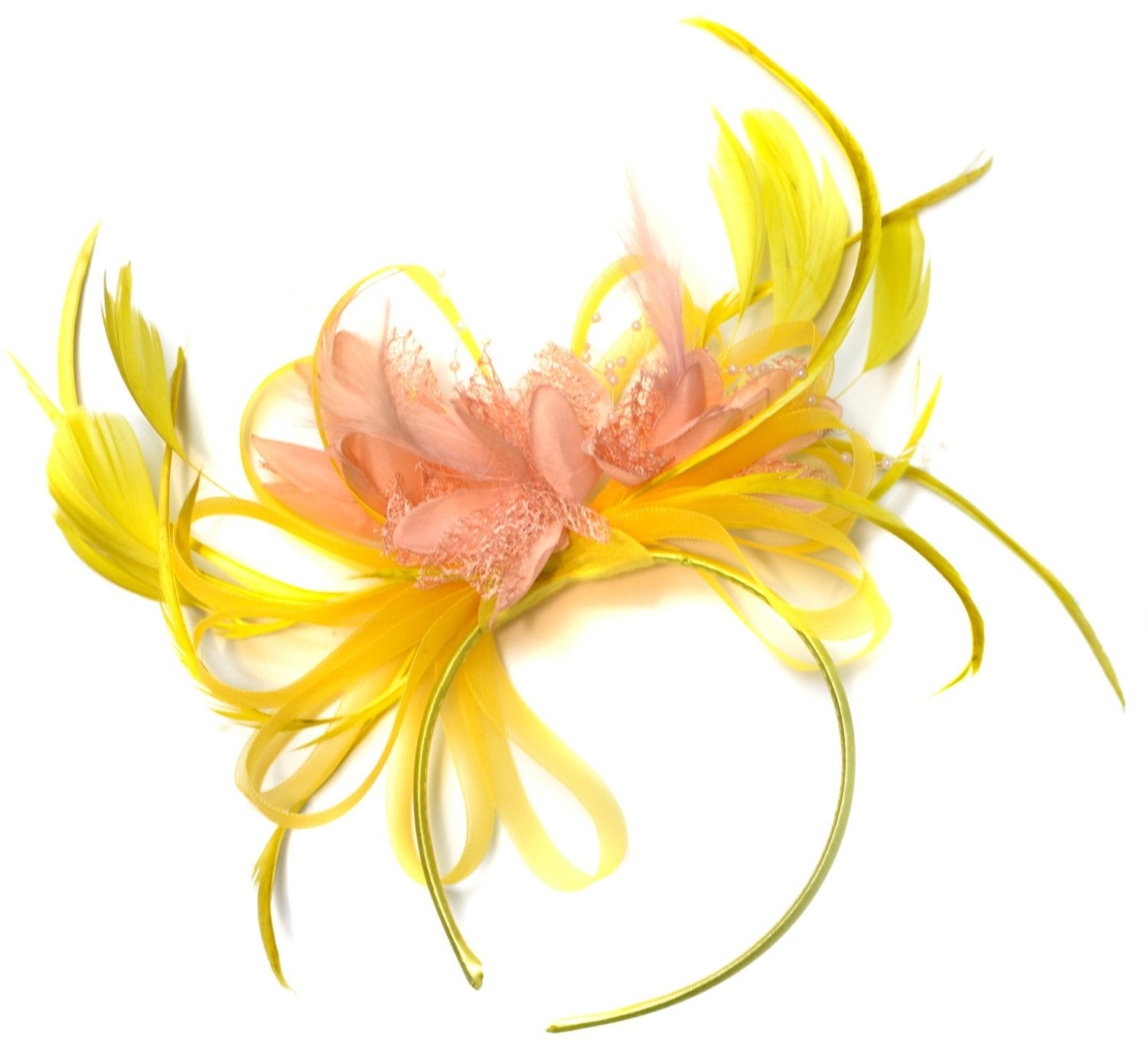 Caprilite Yellow and Nude Peach Salmon Fascinator on Headband Alice Band UK Wedding Ascot Races Derby