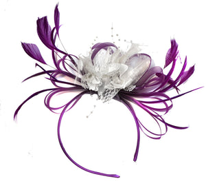 Caprilite Magenta Plum and White Fascinator on Headband Alice Band UK Wedding Ascot Races Derby
