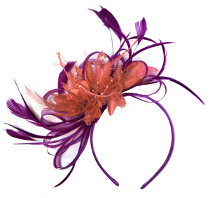 Caprilite Magenta Plum and Coral Fascinator on Headband Alice Band UK Wedding Ascot Races Derby