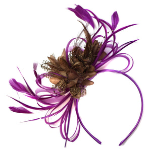 Caprilite Magenta Plum and Brown Fascinator on Headband Alice Band UK Wedding Ascot Races Derby