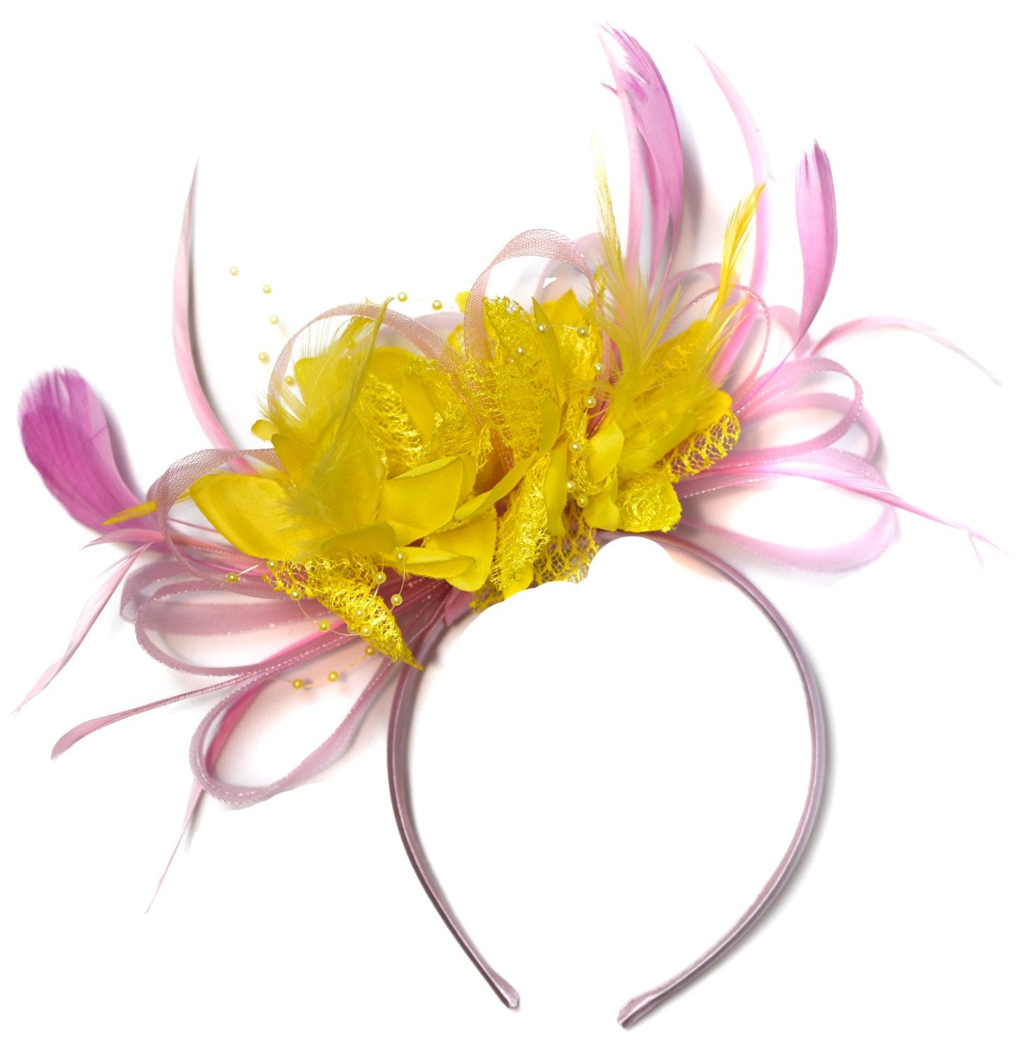 Caprilite Baby Pink and Yellow Fascinator on Headband Alice Band UK Wedding Ascot Races Derby