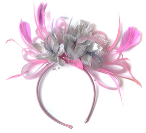 Caprilite Baby Pink and Silver Fascinator on Headband Alice Band UK Wedding Ascot Races Derby