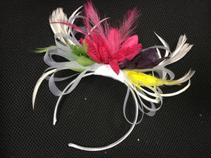Caprilite Fuchsia Pink, Purple, White, Yellow & Lime Green Fascinator on Headband AliceBand UK Wedding Ascot Races Loop