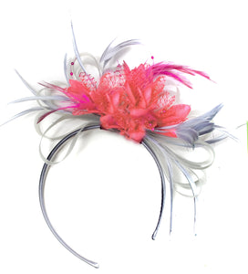 Caprilite Grey Silver & Coral Fascinator on Headband AliceBand UK Wedding Ascot Races Loop