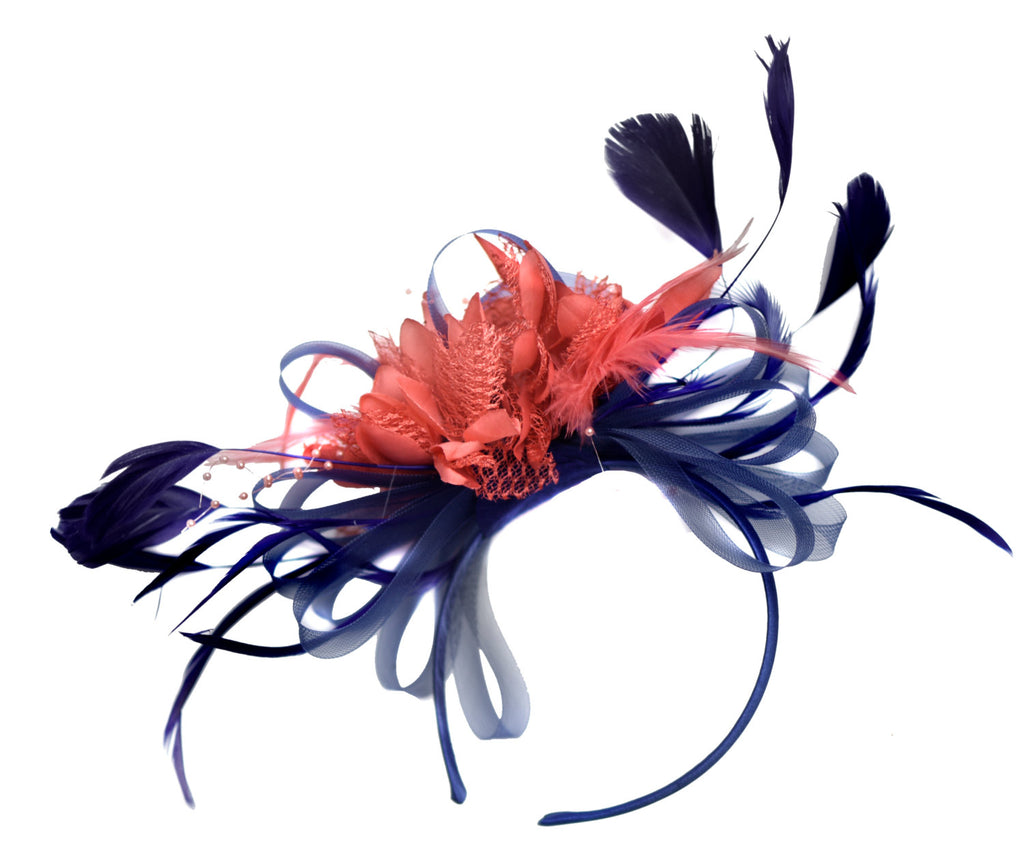 Caprilite Navy and Coral Fascinator on Headband Alice Band UK Wedding Ascot Races Derby