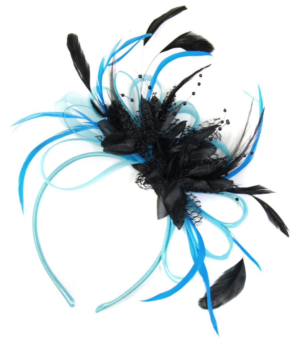 Caprilite Aqua and Black Net Hoop & Feathers Fascinator On Headband