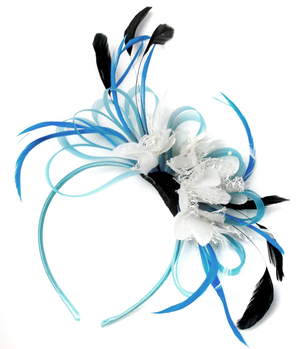 Caprilite Aqua and White Black Net Hoop & Feathers Fascinator On Headband