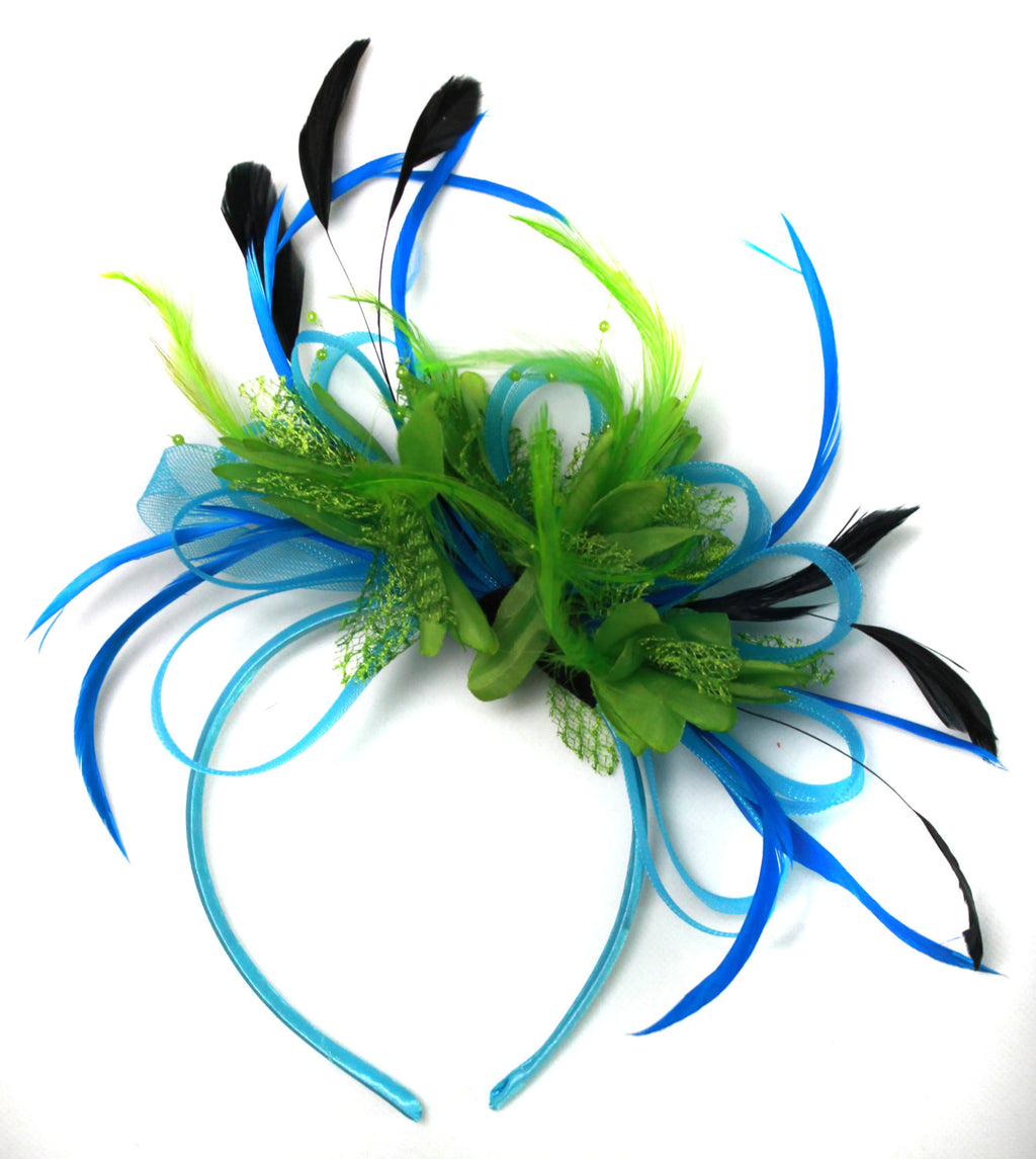 Caprilite Aqua and Green Black Net Hoop & Feathers Fascinator On Headband
