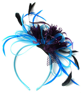 Caprilite Aqua and Purple Black Net Hoop & Feathers Fascinator On Headband