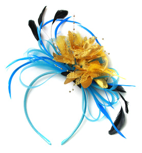 Caprilite Aqua and Gold Black Net Hoop & Feathers Fascinator On Headband Ascot Wedding Derby
