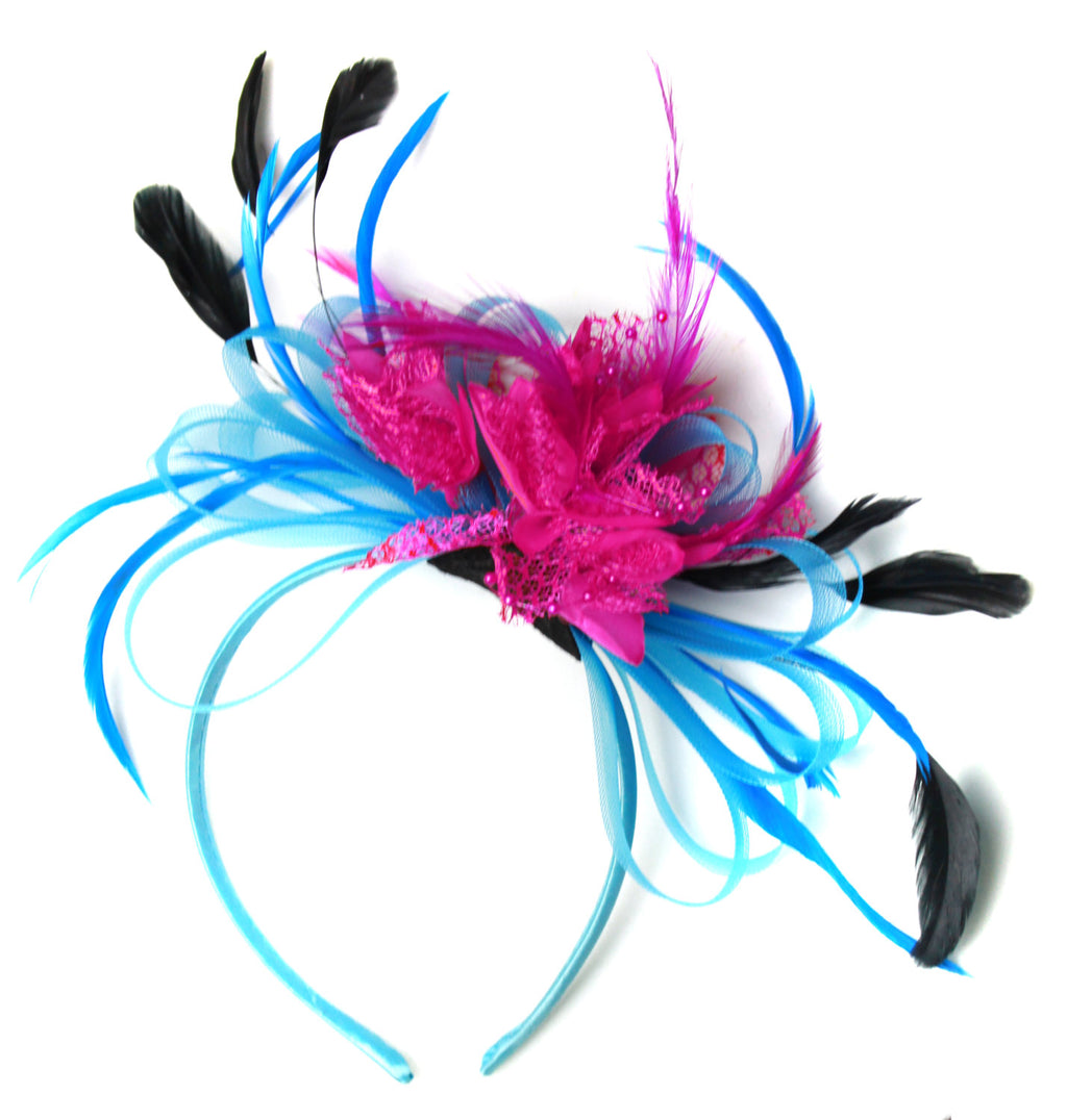 Caprilite Aqua and Fuchsia Black Net Hoop & Feathers Fascinator On Headband Ascot Wedding Derby
