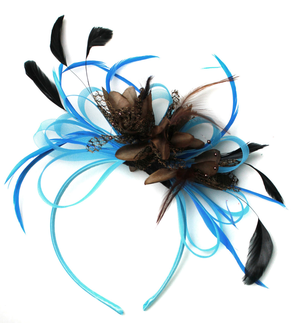 Caprilite Aqua and Brown Black Net Hoop & Feathers Fascinator On Headband Ascot Wedding Derby