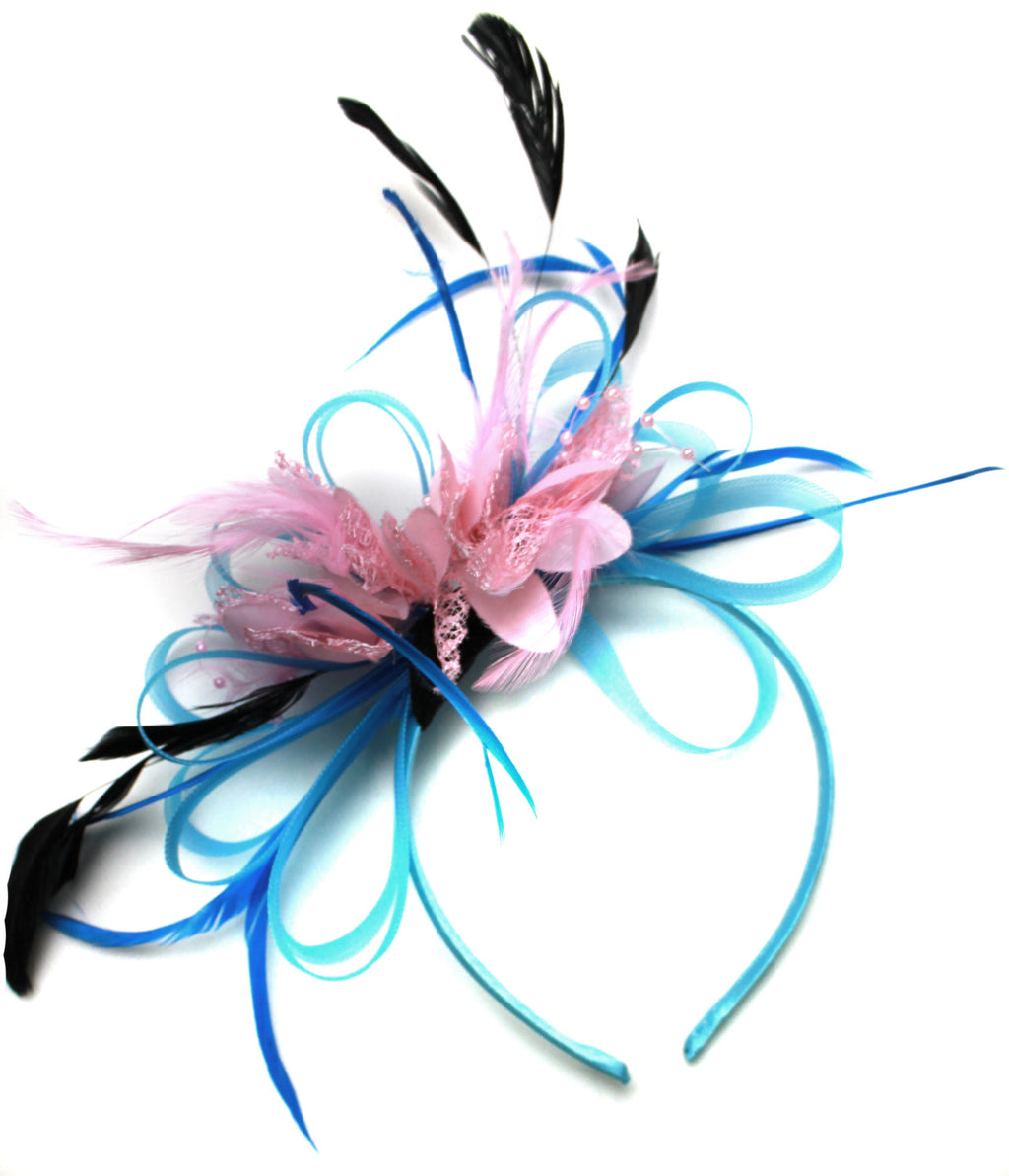 Caprilite Aqua and Baby Pink Black Net Hoop & Feathers Fascinator On Headband Ascot Wedding Derby