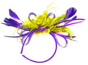 Caprilite Purple and Yellow Fascinator on Headband Alice Band UK Wedding Ascot Races Derby