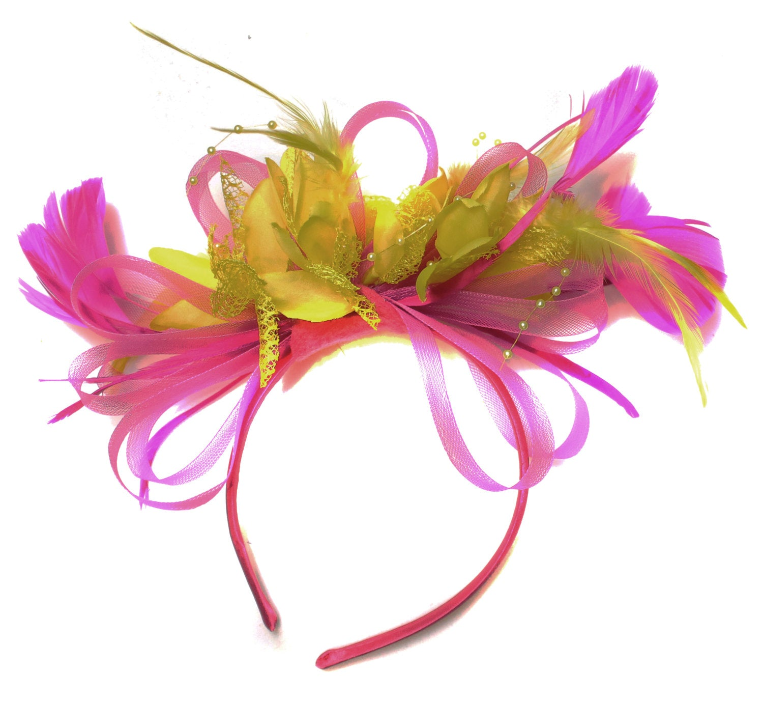 Caprilite Fuchsia Hot Pink and Yellow Fascinator on Headband Alice Band UK Wedding Ascot Races Derby