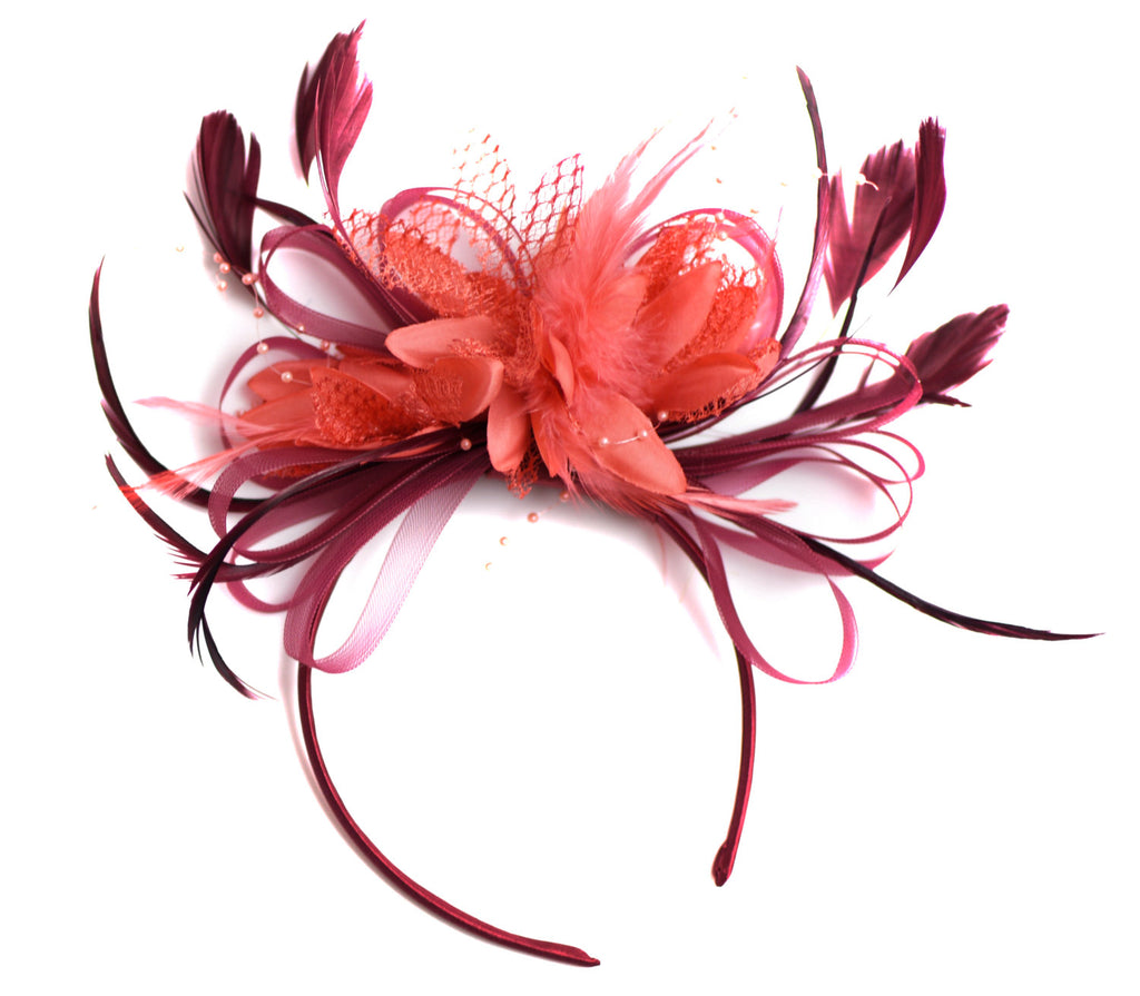 Caprilite Dark Red Burgundy and Coral Fascinator on Headband Alice Band UK Wedding Ascot Races Derby