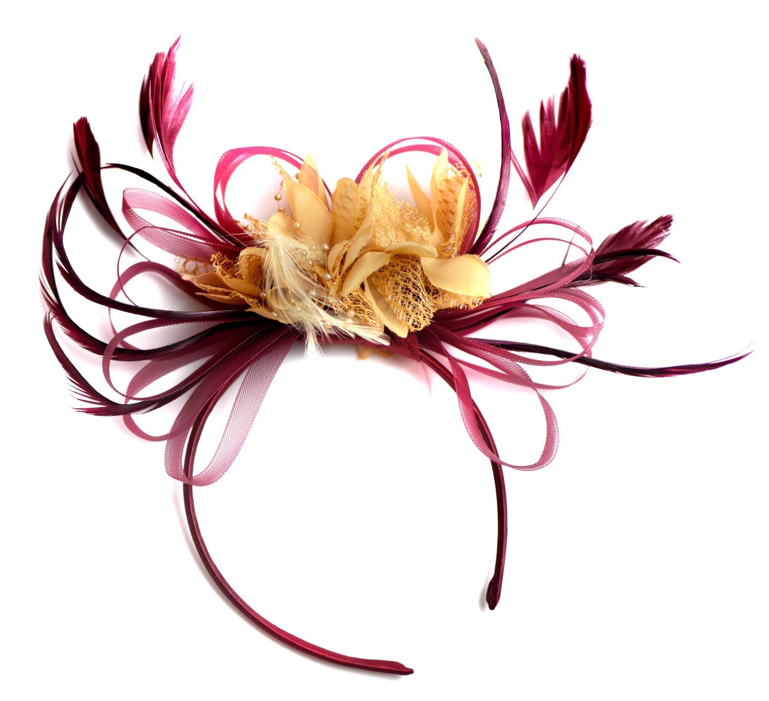 Caprilite Dark Red Burgundy and Beige Fascinator on Headband Alice Band UK Wedding Ascot Races Derby