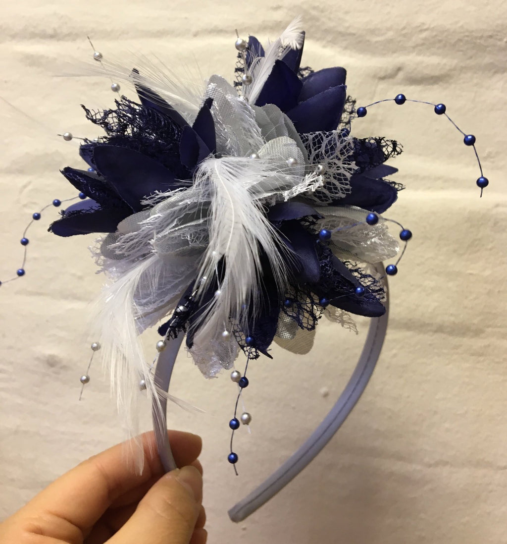 Caprilite Silver and Navy Fascinator Headband Hair Band Flower Corsage