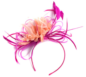 Caprilite Hot Pink Fuchsia and Peach Fascinator on Headband Alice Band UK Wedding Ascot Races Derby