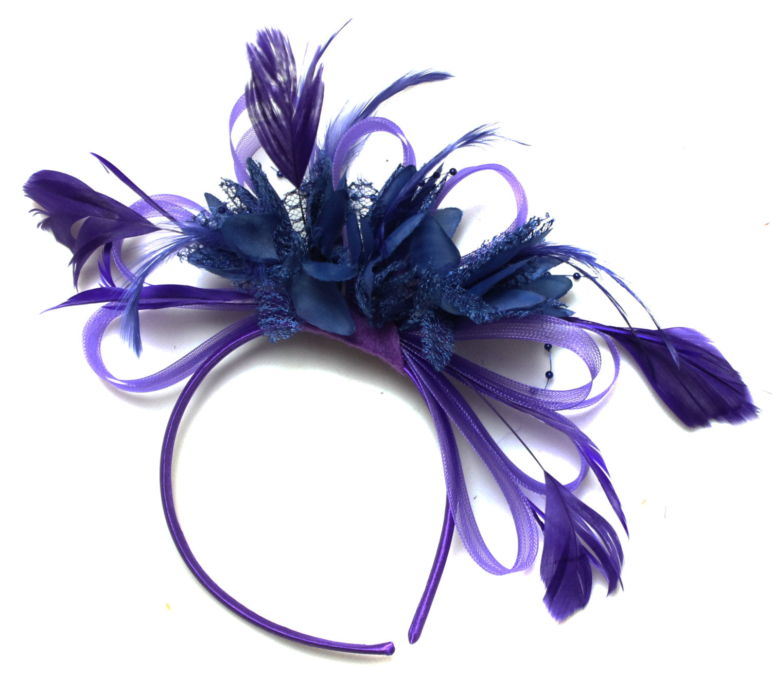 Caprilite Cadbury Purple & Navy Blue Feathers Fascinator Headband Wedding Ascot Derby