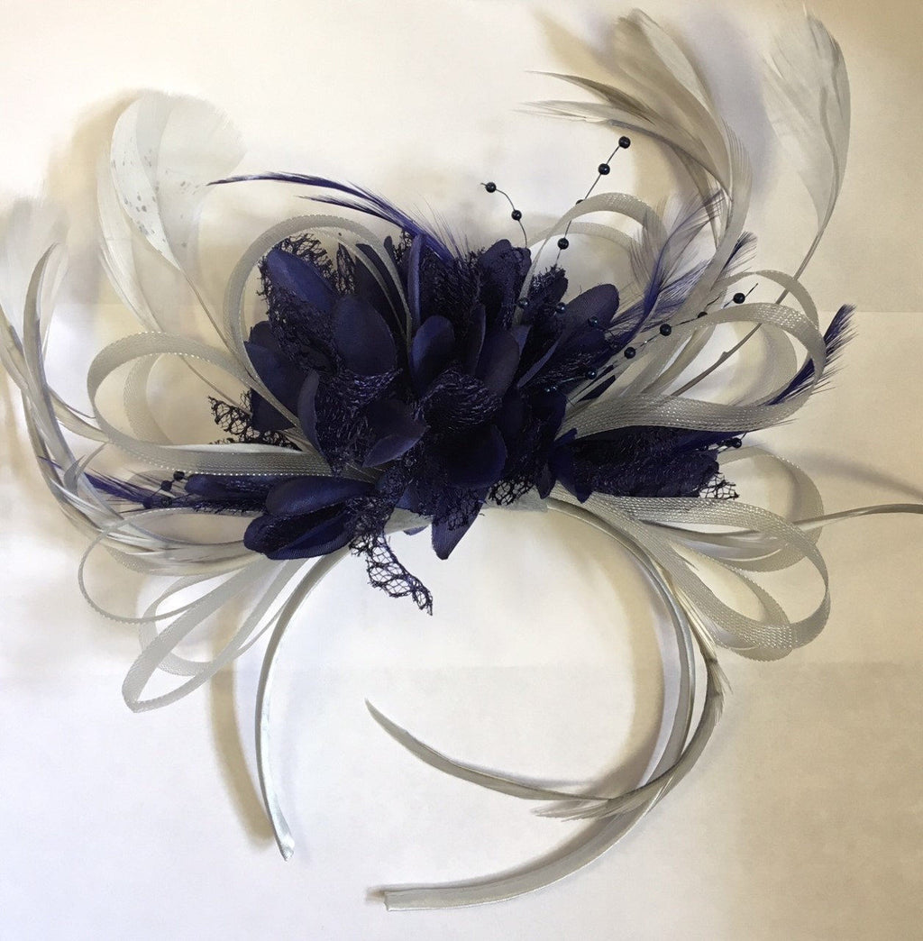 Caprilite Silver Grey and Navy Blue Fascinator on Headband Alice Band UK Wedding Ascot Races Loop